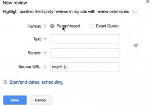 ایجاد افزونه Review جدید در گوگل ادز