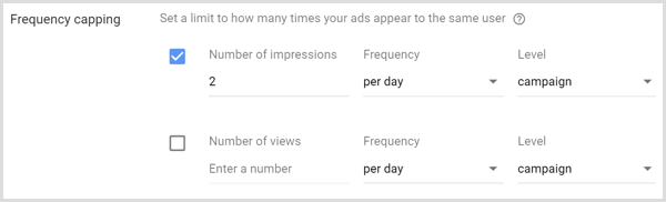 frequency capping settings for for google adwords