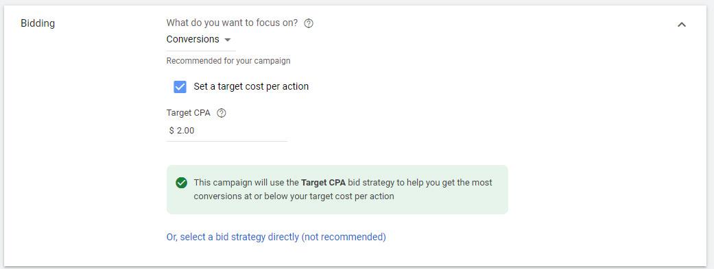 ایجاد تنظیمات پیشنهاد قیمت در زمان اجرای کمپین گوگل ادز بر اساس نرخ تبدیل