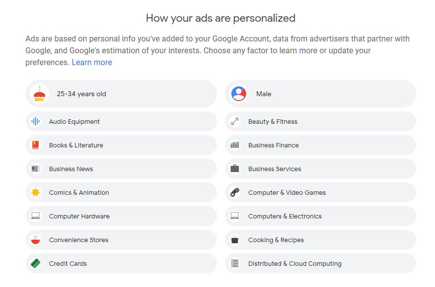 شخصی سازی تبلیغات گوگل