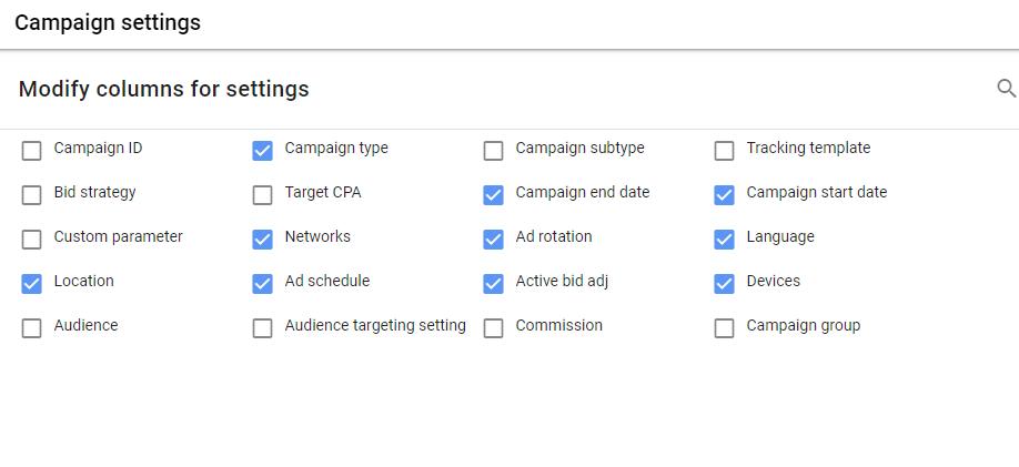 نحوه تنظیم ستون های تبلیغات گوگل ادز
