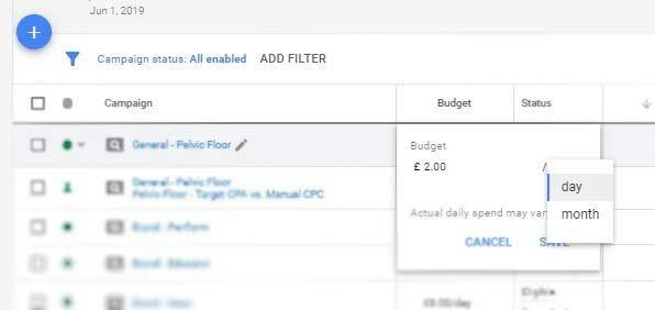 تغییر یا ویرایش بودجه روزانه گوگل ادز