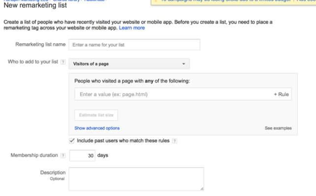 لیست جدید ریمارکتینگ گوگل ادز