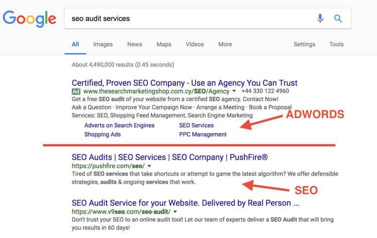 سرویس های خدماتی بررسی سئو - مثال هایی از آگهی و نتایج ارگانیک گوگل