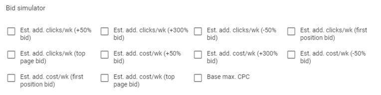 adwords not showing bid simulators