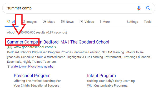 نمونه ای از بهینه بودن تبلیغ - عدم نمایش تبلیغات در گوگل