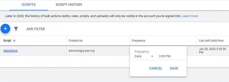 اسکریپت های ایجاد شده در اکانت گوگل ادوردز