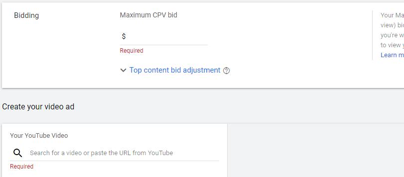 بخش پیشنهاد هزینه و اضافه کردن ویدیو تبلیغاتی
