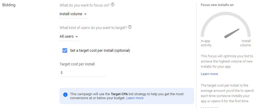 بخش هزینه گذاری یا Bidding کمپین اپلیکیشن گوگل ادز