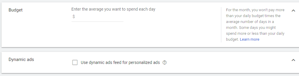 چگونه در گوگل تبلیغ کنیم؟ بخش بودجه روزانه و تبلیغات داینامیک