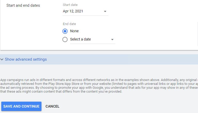 تعیین زمان شروع و پایان کمپین App