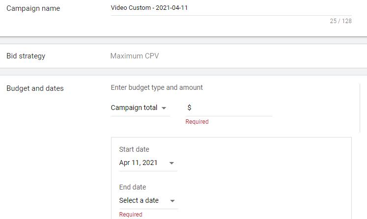 ایجاد نام، استراتژی هزینه گذاری، بودجه و تاریخ کمپین ویدیویی گوگل ادز