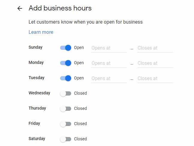 نحوه ایجاد ساعت های فعالیت کسب و کار در گوگل بیزینس اکانت