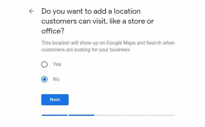 ارائه آدرس در زمان ساخت اکانت گوگل مای بیزینس