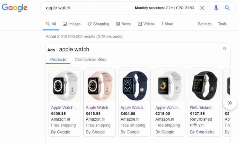 مثالی از تبلیغات شاپینگ گوگل ادز - کمپین تبلیغاتی گوگل ادز